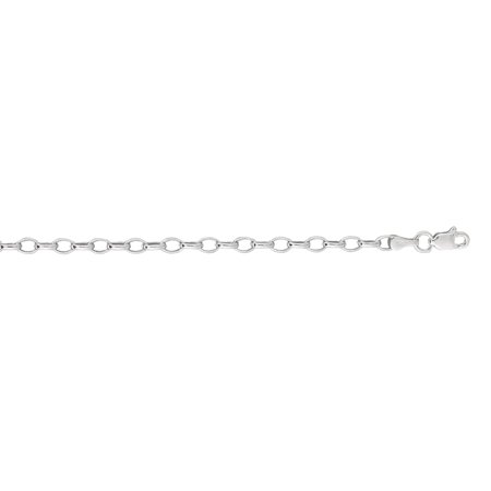 - 14K White Gold 3mm wide Diamond Cut Oval Rolo Chain 7 Bracelet with Lobster Clasp