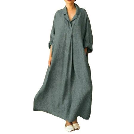 UKAP Solid Color T Shirt Dress for Women 3/4 Sleeve Plus Size Swing Dress Pockets Boho Beach Casual Long Maxi Dress Retro Kaftan Simple Wear