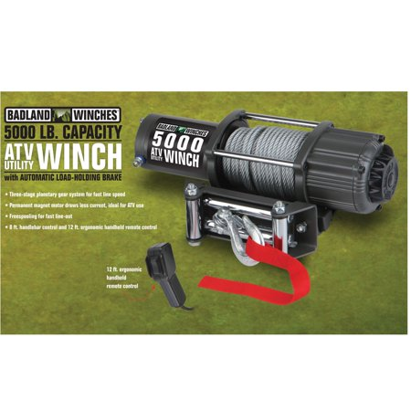 badland electric winch 5000 lb  atv/utility automatic load-holding brake  61384 - walmart com