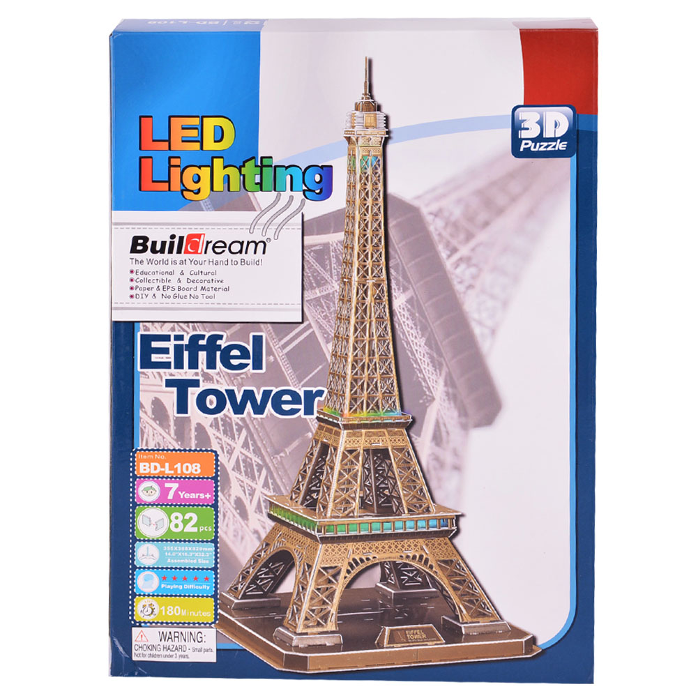 82-Piece Eiffel Tower 3D Puzzle Building Toy with LED Lighting Brain Teaser by