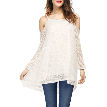 Women's Long Sleeves Open Shoulder Lace Tunic Top