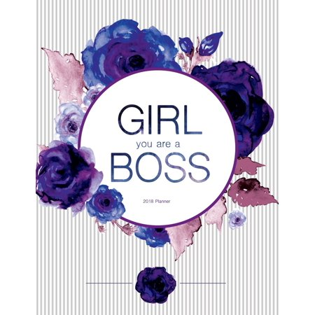 Little Girl Planter - 2018 Planner. Girl You Are the Boss: Weekly Undated Planner Journal 8.5 X 11, White and Purple Floral Cover (Paperback)