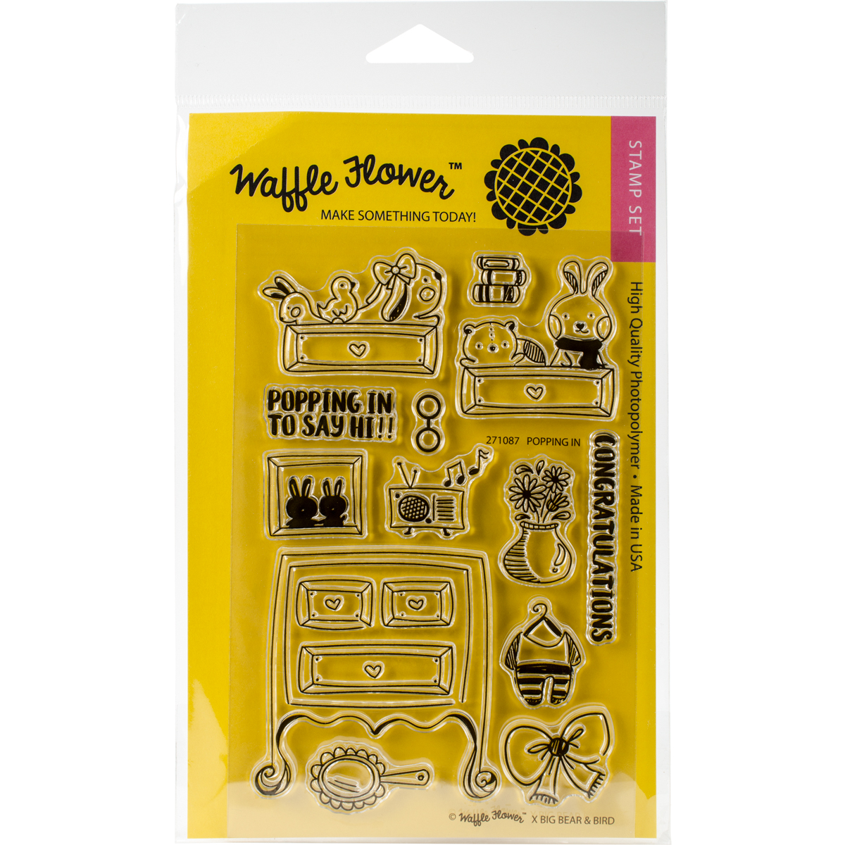 """Waffle Flower Crafts Clear Stamps 4""""X6""""-Popping In"""