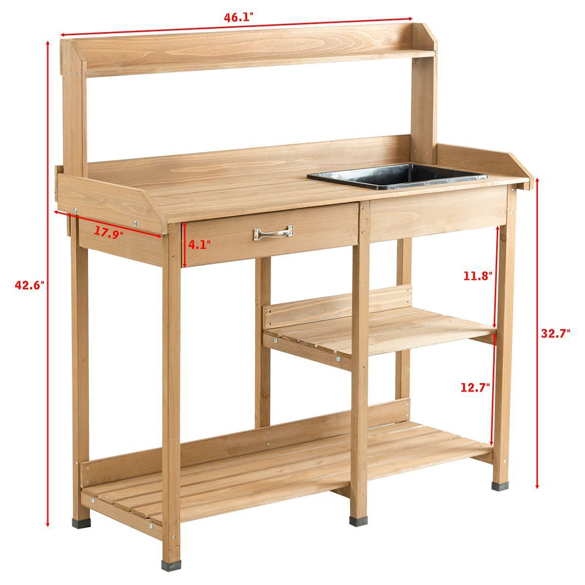 Gymax Potting Table Bench Outdoor Indoor Work Station Garden Planting Wood  Shelves
