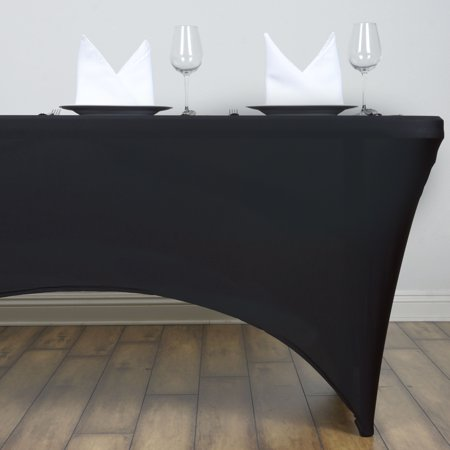 BalsaCircle 4 Feet Rectangular Spandex Fitted Elastic Stretchable Tablecloth Wedding Party Trade Show Booth Table Linens Decorations (Black Linen Tablecloth)