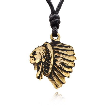 Indian Head Native American Handmade Brass Necklace Pendant Jewelry With Cotton -