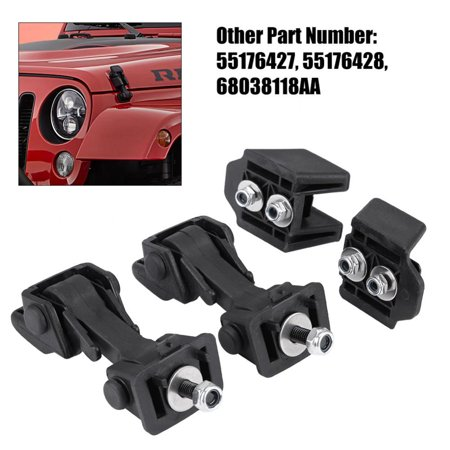 EECOO 2 Set of Hood Latch Safety Catches & Brackets for Jeep Wrangler TJ 97-06 55176636AD 55395652AC,Hood Latch Catch for Jeep Wrangler TJ,Hood Latch Bracket