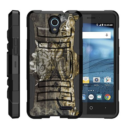 TurtleArmor ® | For ZTE Avid Plus | Avid Trio | Cheers | Chapel [Hyper Shock] Hybrid Dual Layer Armor Holster Belt Clip Case Kickstand - Steampunk Machine (Steampunk Suit)
