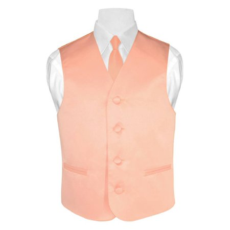 BOY'S Dress Vest & NeckTie Solid PEACH Color Neck Tie Set
