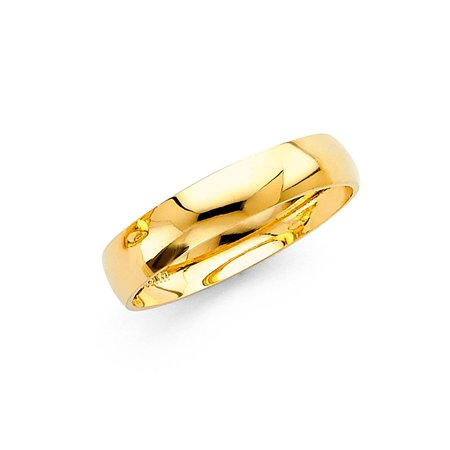 Solid 14k Yellow Gold Wedding Ring Plain Band Classic Dome Style Polished Finish Mens Womens 4 mm