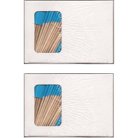 2 Boxes of Solid Light Blue Toothpick Flags, 200 Small Blue Flag Toothpicks or Cocktail Picks