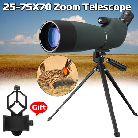 Day&Night Vision 25-75X70 Zoom Monocular Outdoor Waterproof BAK4 Spotting Scope with Tripod & Phone