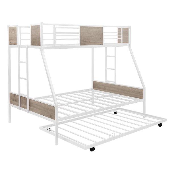 Bunk Bed With Trundle Twin Over Full Bed Frame 2 Side Ladders Metal Slats Platform Bed Light Brown Walmart Com Walmart Com