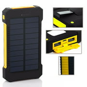 8000mAh Fast Charging Portable Solar Charger Battery Power Bank 2USB Waterproof Yellow Color
