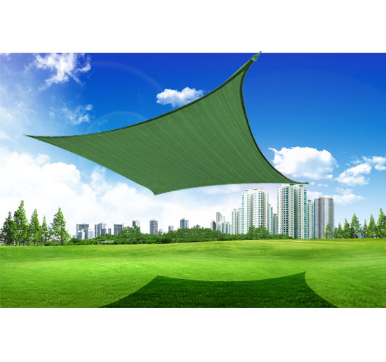 Outsunny 24' Square Outdoor Patio Sun Shade Sail Canopy - Green