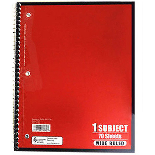 Notebook, Wide Ruled, 70 Sheet (Colors May Vary)