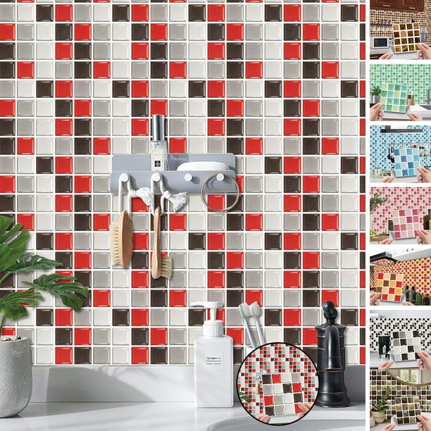 Kitchen Tile Stickers Bathroom 3d Mosaic Self Adhesive Wall Cover Decal Sticker Walmart Com Walmart Com