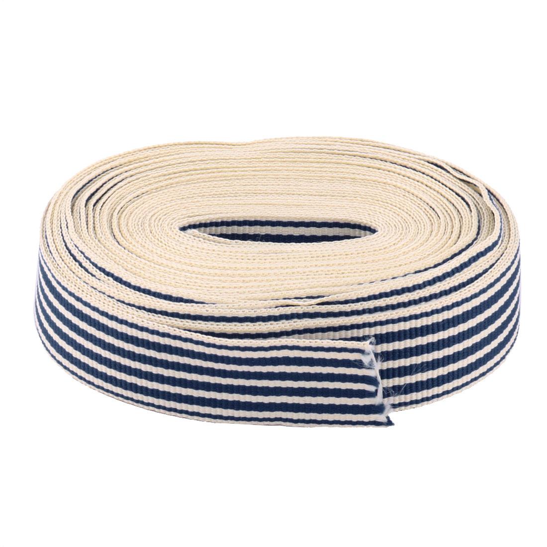 Polyester Stripe Print Birthday Cake Box Decor Wrap Ribbon Navy Blue 10 Yards