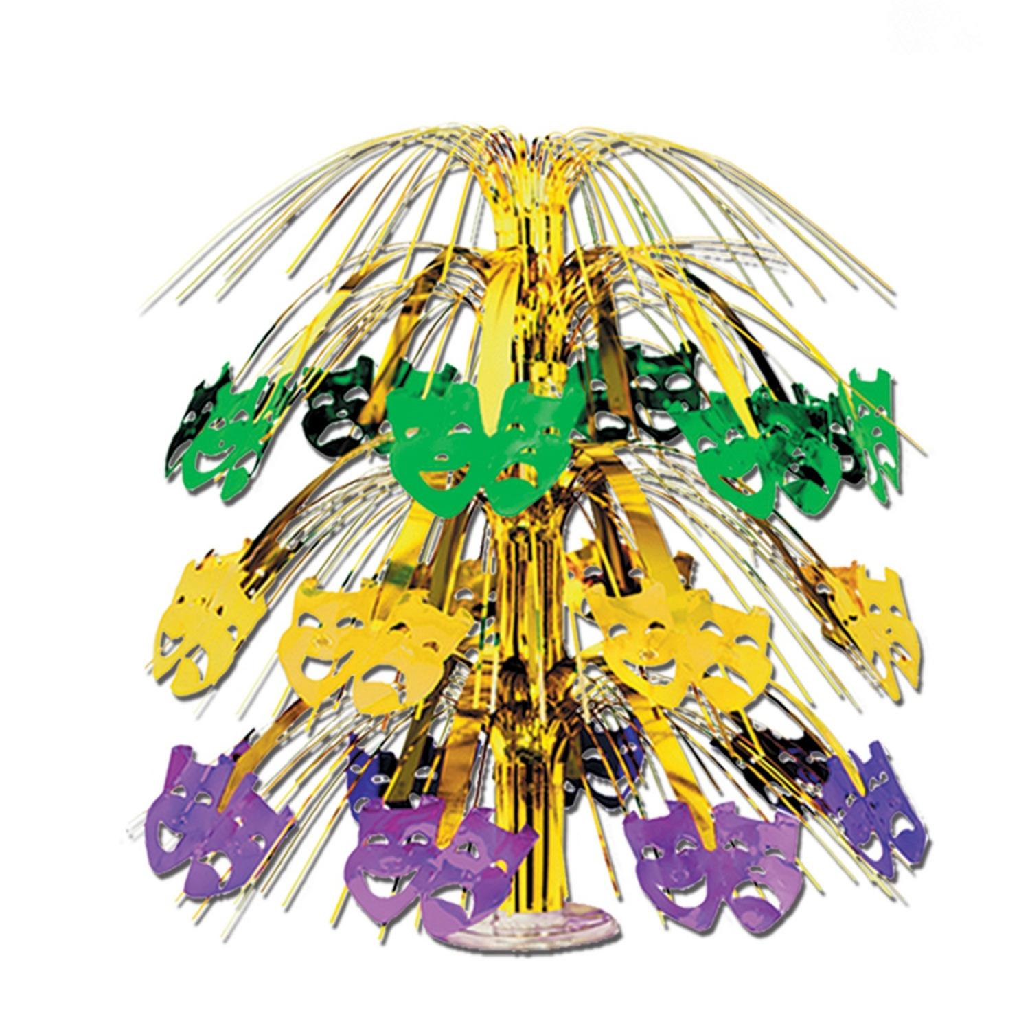 """Club Pack of 6 Purple, Green and Gold Mardi Gras Mask Cut-Out Cascade Table Centerpiece Decorations 18"""""""