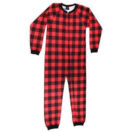 a747257b3 Just Love - Just Love Printed Flannel Blanket Sleepers / One Piece Pajamas  (Buffalo Plaid Red / Black, Girls 7-8) - Walmart.com
