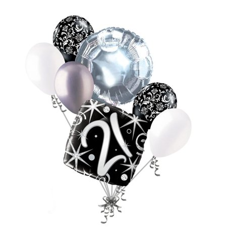 7 pc 21st Elegant Happy Birthday Sparkles Balloon Bouquet Black Damask SilverPackaged & Shipped together By Jeckaroonie Balloons](21st Birthday Balloons)