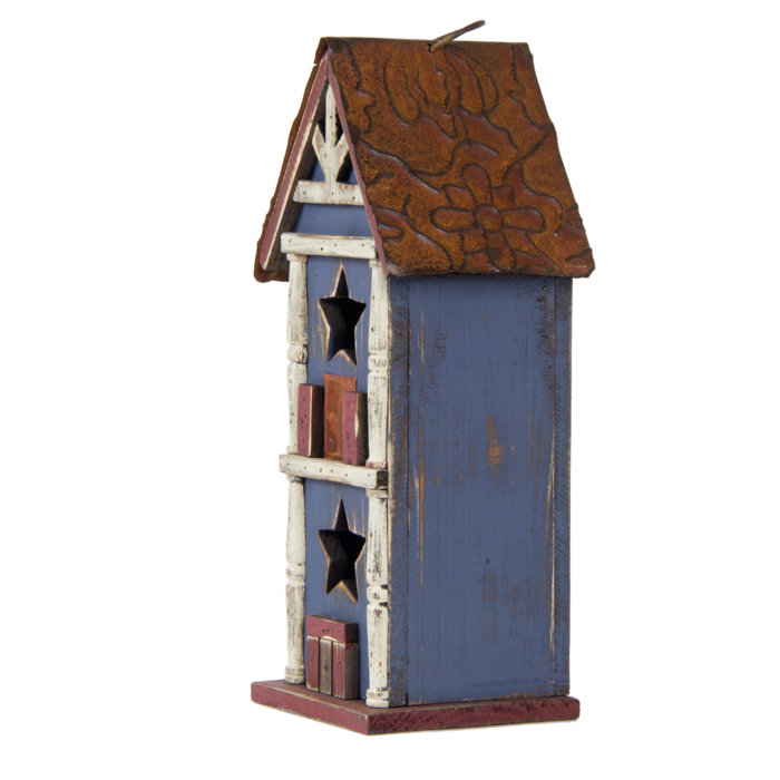 Glitzhome 12.6''H Functional Hanging Decorative Wood Birdhouse with Metal Roof