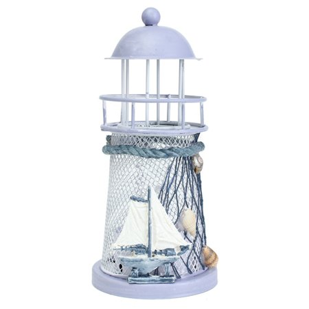 Vintage Lighthouse Tealight Holder Candle Holder Mediterranean Style Decoration Lantern Candlestick Home Decor 5.7x2.6
