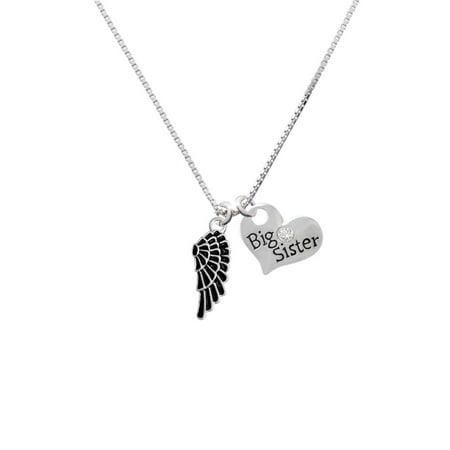 (Silvertone Medium Black Enamel Angel Wing Big Sister Heart Necklace)