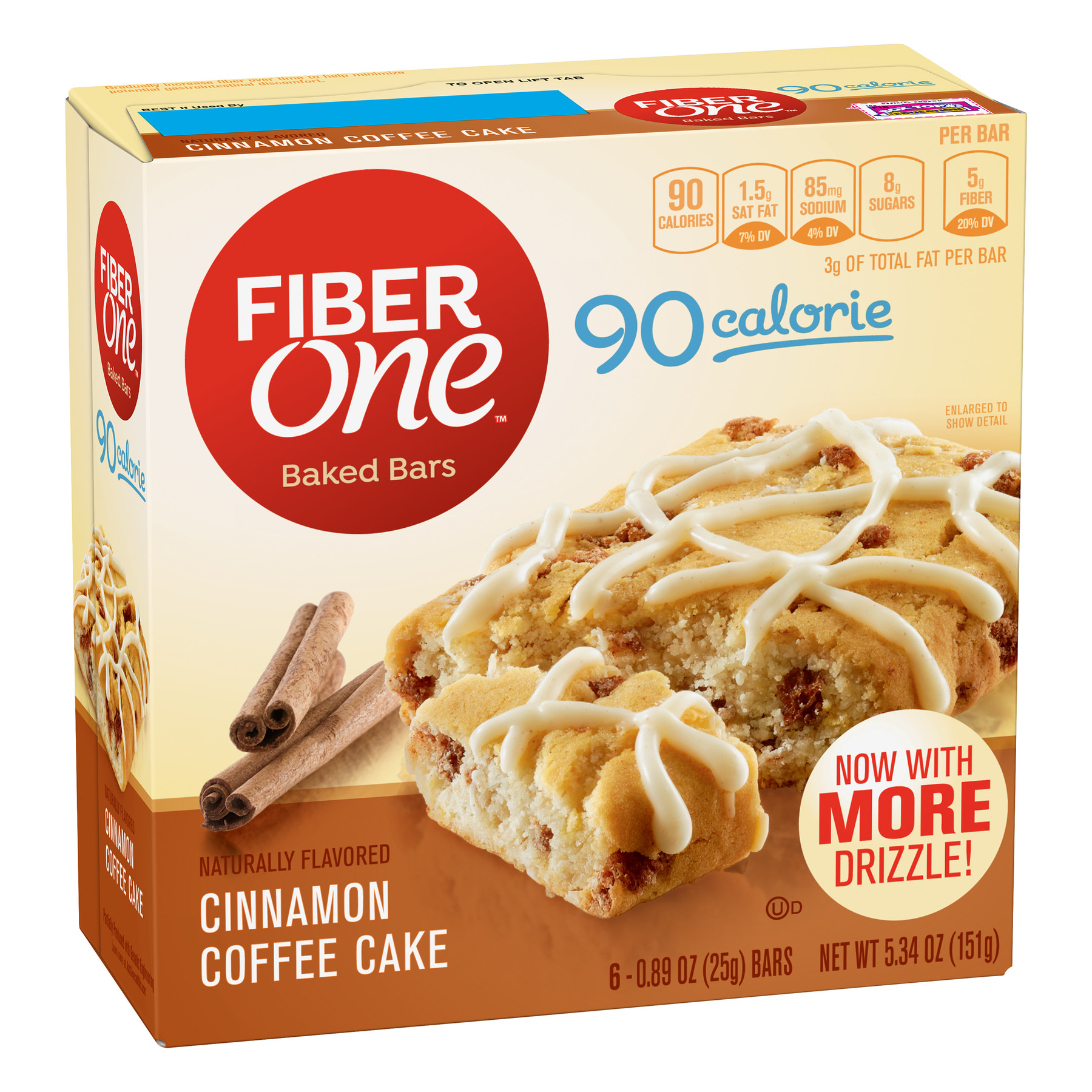 Fiber One 90 Calorie Soft-Baked Bar, Cinnamon Coffee Cake, 6 Fiber Bars, 5.34 oz
