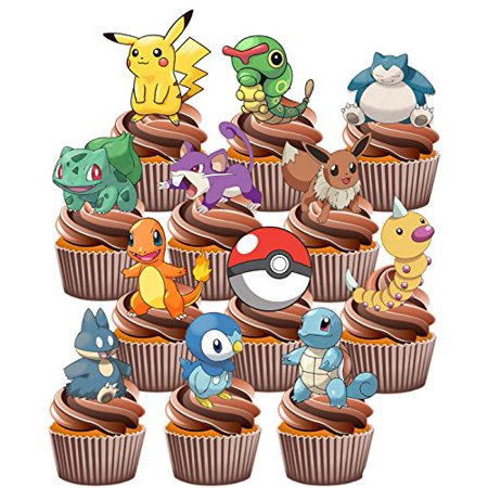 ? Pokemon Go Themed - Fun Fully Edible Boys Girls Birthday Party Cup Cake Toppers (48) - First Birthday Cakes For Girls
