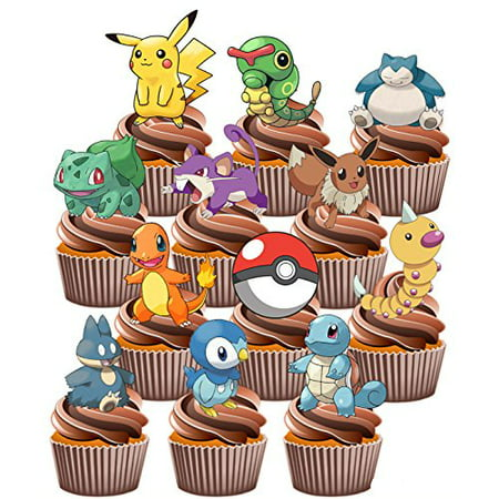 ? Pokemon Go Themed - Fun Fully Edible Boys Girls Birthday Party Cup Cake Toppers (Cake Designs For 18 Year Old Boy)