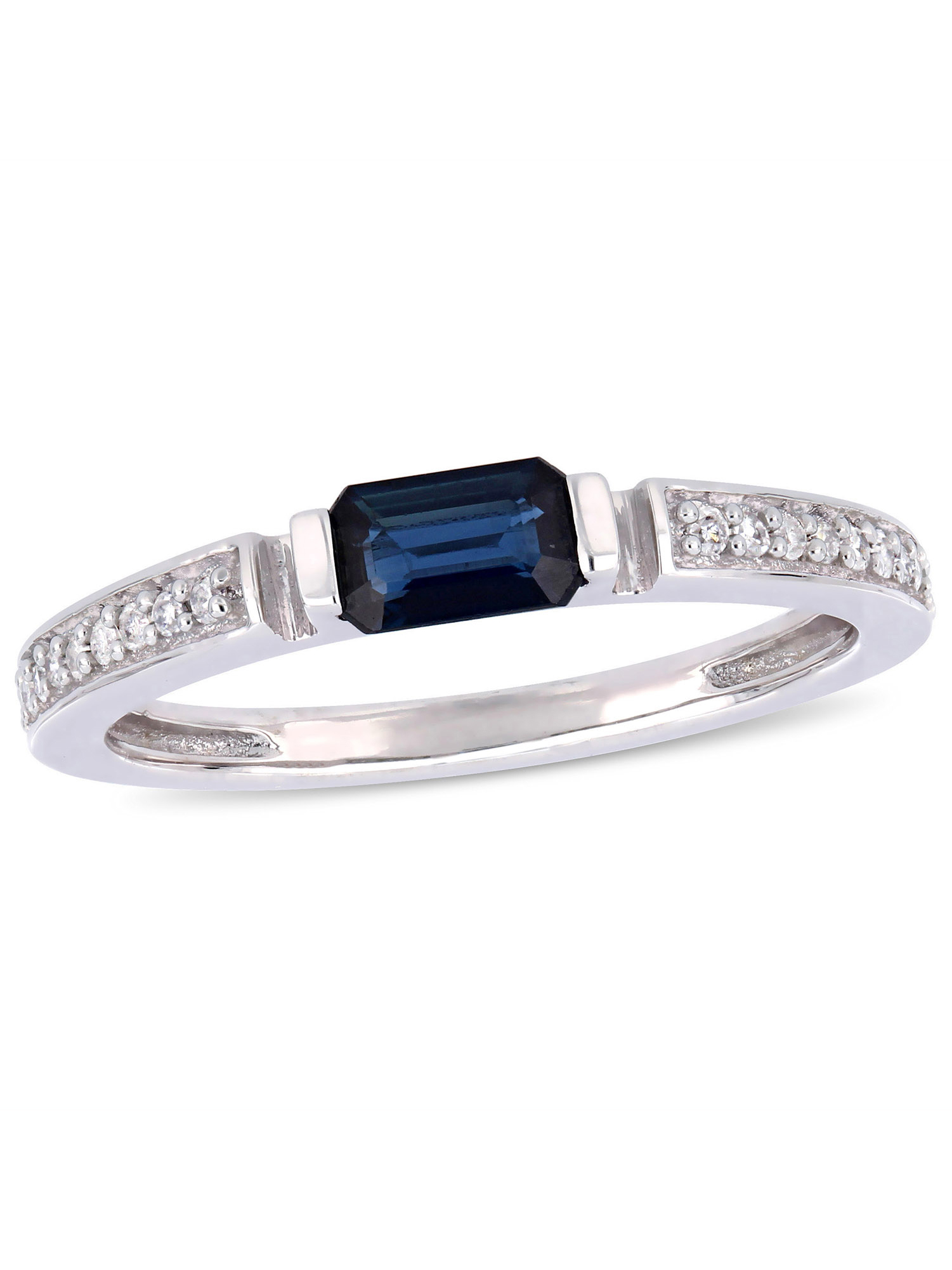 Tangelo 1/3 Carat T.G.W. Sapphire and 1/10 Carat T.W. Diamond 10kt White Gold Promise Ring