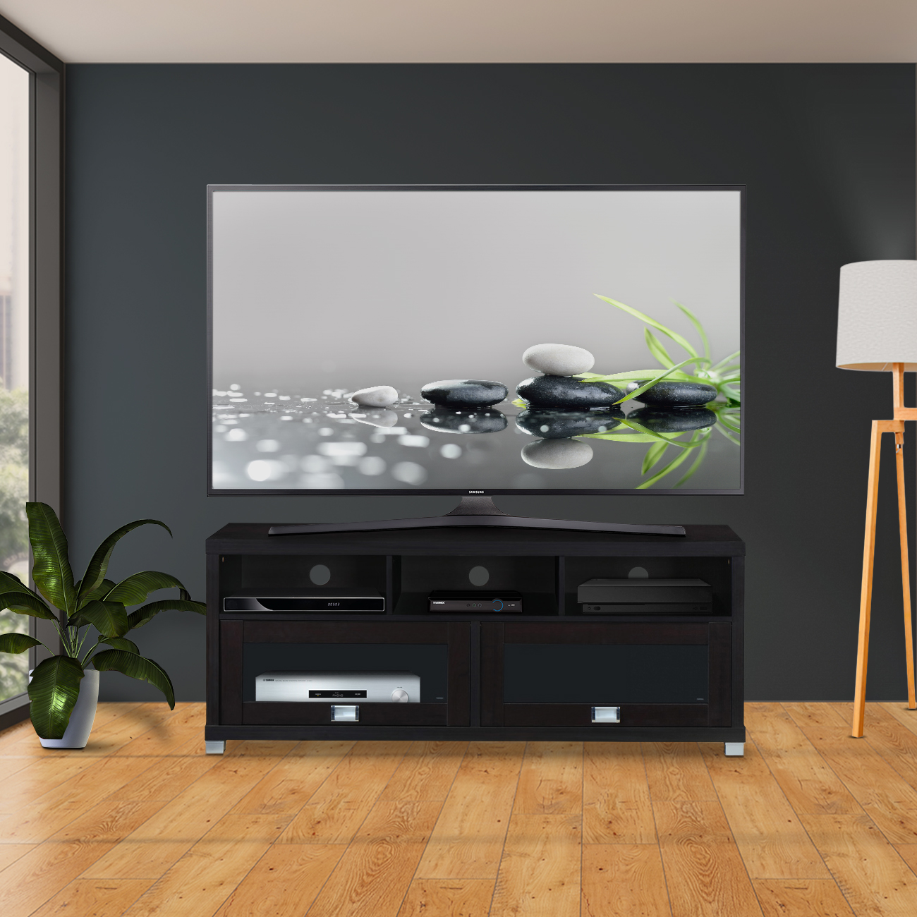 "Techni Mobili Durbin TV Cabinet for TVs up to 75"", Espresso"
