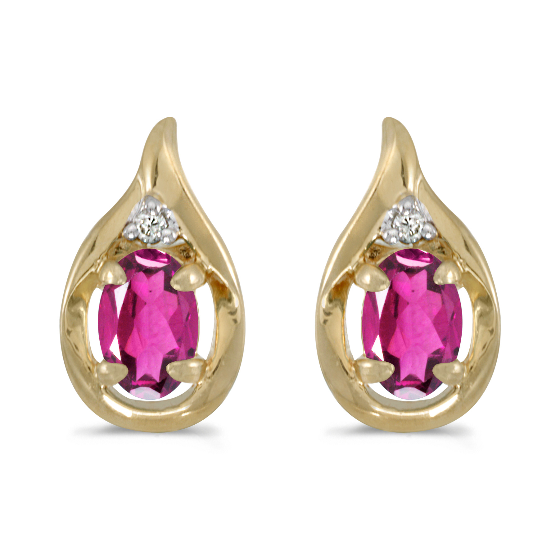 14k Yellow Gold Oval Pink Topaz And Diamond Earrings by LCD
