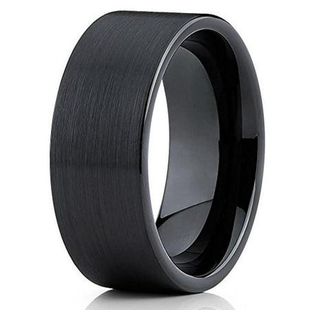 9mm Tungsten Wedding Band Brushed Black Tungsten Ring Tungsten Carbide Ring Flat Pipe Cut Men & Women Comfort Fit (9mm Tungsten Black Jewelry Band)