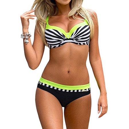 Classic Women Stripe Bikini Set Push Up Padded Swimsuit Plus Size Two Piece Straps Bathing Suits Yellow