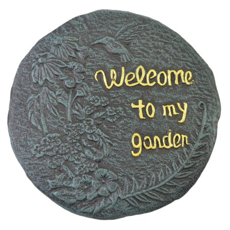 Stepping Stone Plaque - Welcome To My Garden Hummingbird - Verdigris Cast Iron