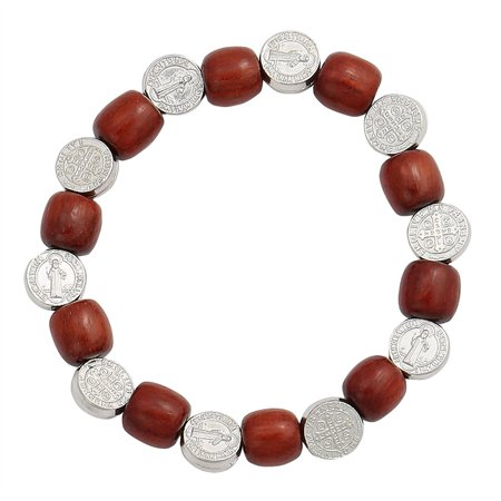 San Benito Silver Tone Medals Bracelet with 6mm Wooden Beads Spacer ()