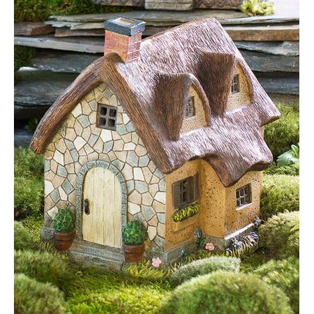 Plow & Hearth Miniature Fairy Garden Solar Thatched