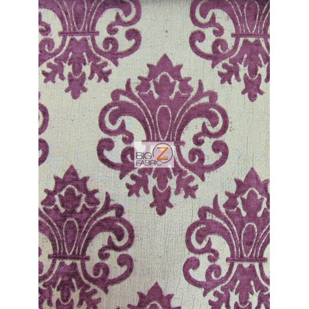 Reversible Damask Chenille Jacquard Drapery Upholstery Fabric / Violet / Sold By The Yard