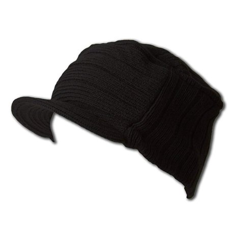 Square Rib knitted short visor Beanie hat black, One Size Fits Most with an elastic stretch By -