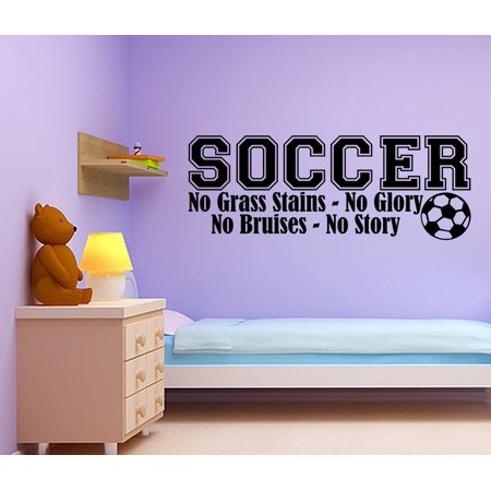 (Soccer No Grass Stains Boy Lettering Decal Wall Vinyl Decor Sticker Room Sports JR77)