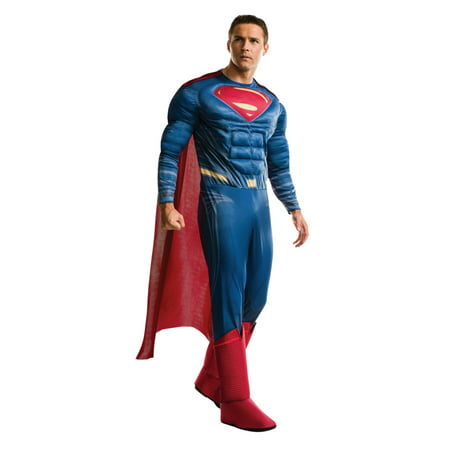Batman Vs Superman: Dawn of Justice Deluxe Superman Men's Adult Halloween Costume, One Size Fits Most (Plus Size Mens Halloween Costume Ideas)
