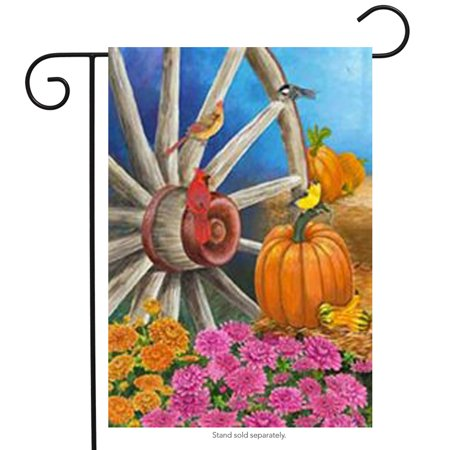 Autumn Wagon Wheel Garden Flag Pumpkin Cardinal Fall by Custom Decor 12