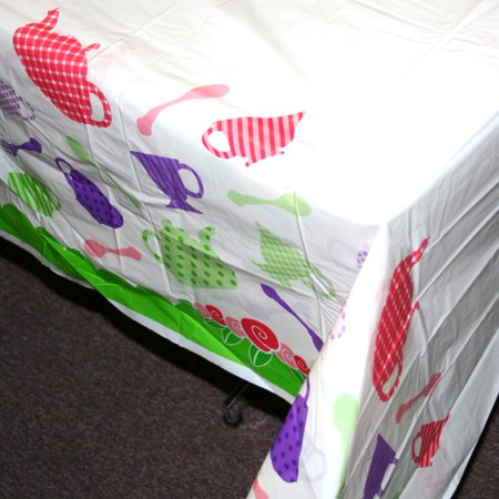 Tea Party Plastic Table Cover - Rectangle - Tea Party Table Setting