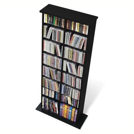 Pemberly Row 51″ Double Slim CD DVD Wall Media Storage Rack in Black