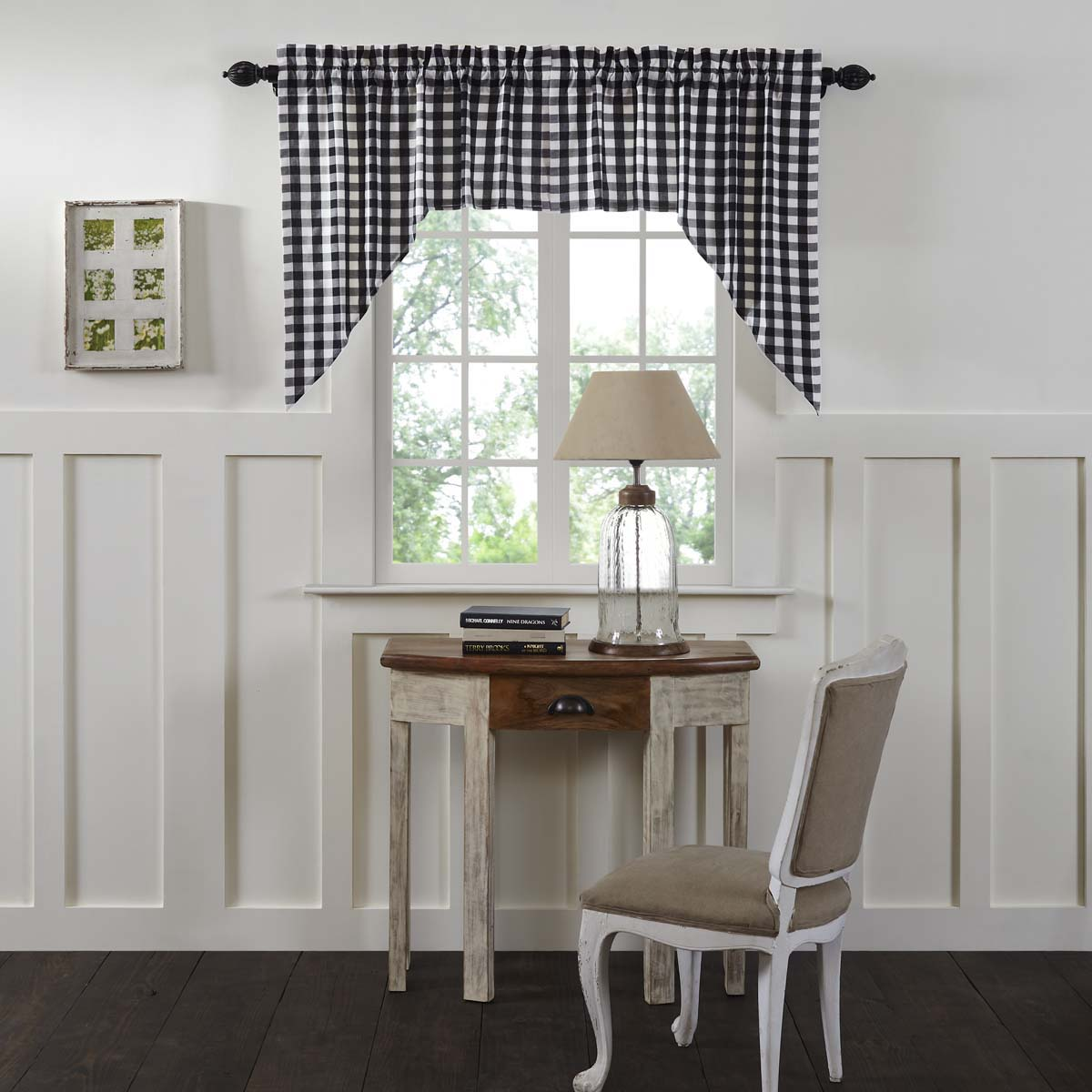 Antique White Black Farmhouse Kitchen Curtains Jenna