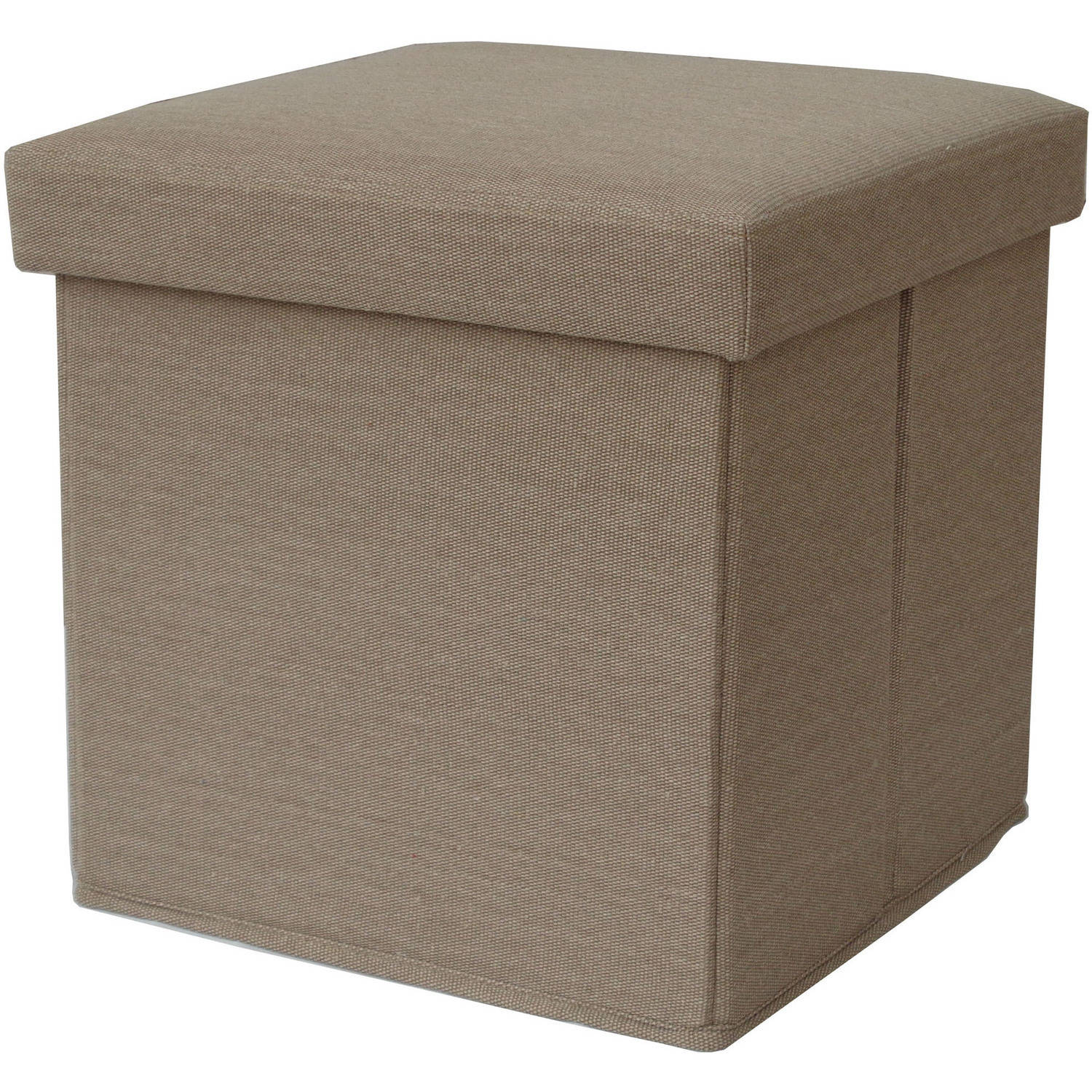 Mainstays Collapsible Linen Storage Ottoman, Tan