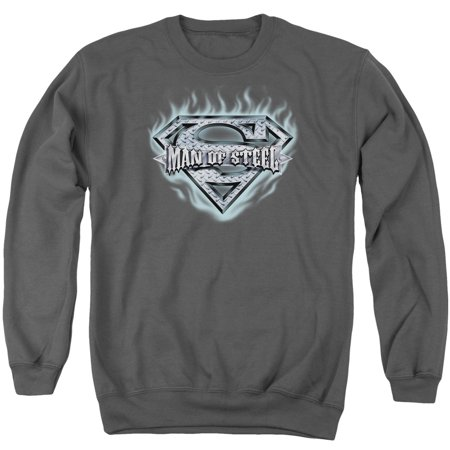 Superman DC Comics Man Of Steel Shield Adult Blue Flame Shield Crew Sweatshirt (Flames Adult Sweatshirt)