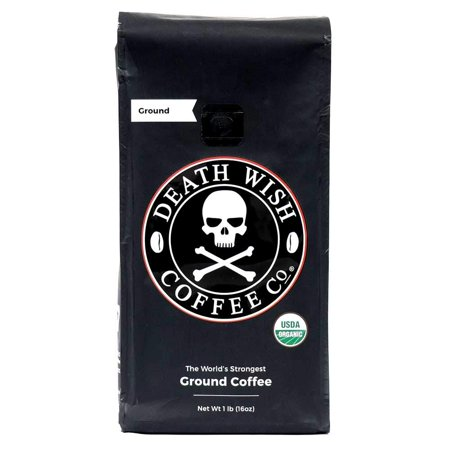 Death Wish Coffee Company Organic Fair Trade Strong Ground Coffee, 16 Oz Organic Fair Trade